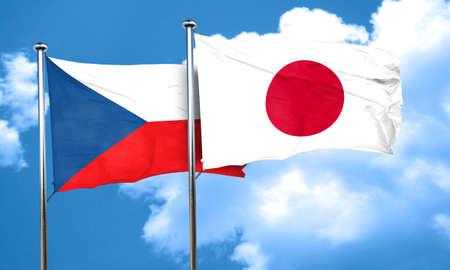 czechoslovakia: czechoslovakia flag with Japan flag, 3D rendering