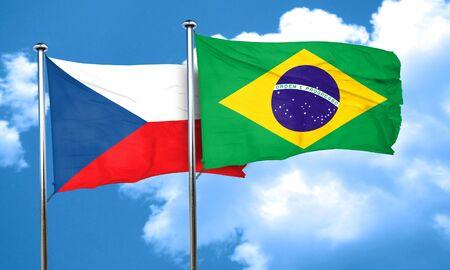 czechoslovakia: czechoslovakia flag with Brazil flag, 3D rendering