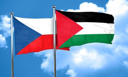 palestine: czechoslovakia flag with Palestine flag, 3D rendering