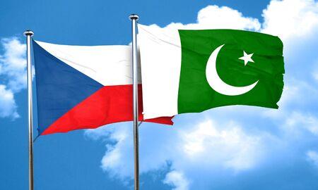 pakistan flag: czechoslovakia flag with Pakistan flag, 3D rendering