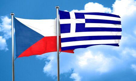 czechoslovakia: czechoslovakia flag with Greece flag, 3D rendering