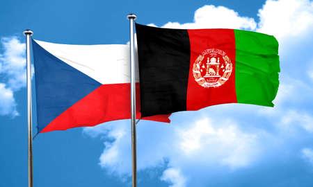 afghanistan flag: czechoslovakia flag with afghanistan flag, 3D rendering Stock Photo