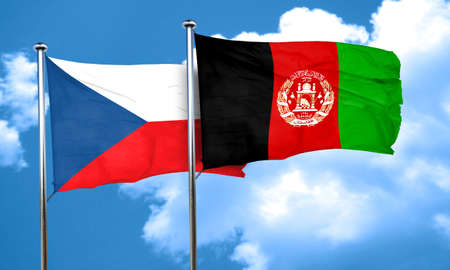 czechoslovakia flag with afghanistan flag, 3D rendering Stock Photo