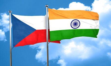 czechoslovakia: czechoslovakia flag with India flag, 3D rendering