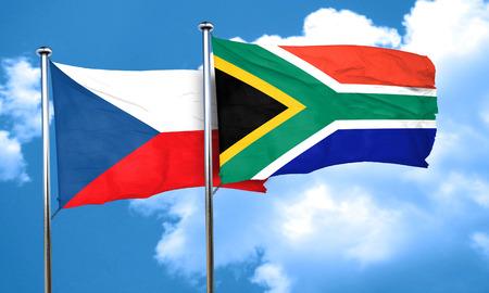 czechoslovakia: czechoslovakia flag with South Africa flag, 3D rendering