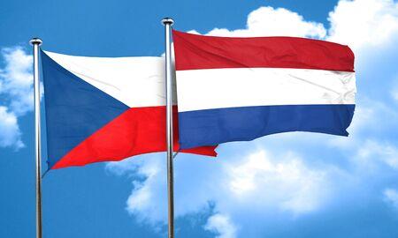 netherlands flag: czechoslovakia flag with Netherlands flag, 3D rendering