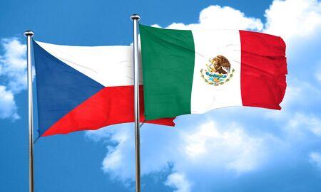 czechoslovakia: czechoslovakia flag with Mexico flag, 3D rendering