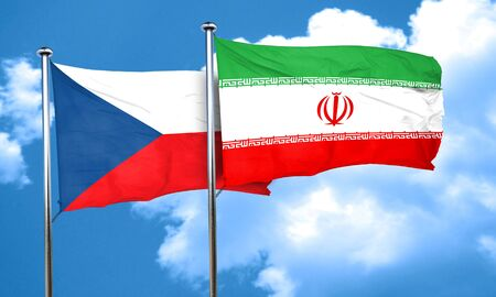 iran: czechoslovakia flag with Iran flag, 3D rendering Stock Photo