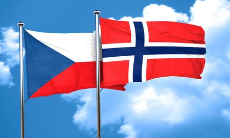 norway flag: czechoslovakia flag with Norway flag, 3D rendering
