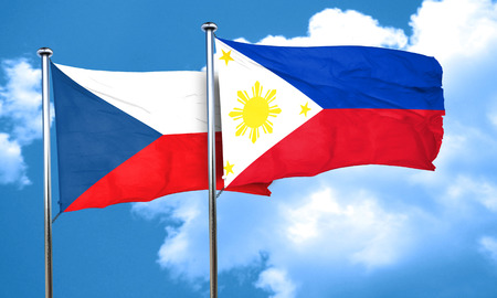 philippino: czechoslovakia flag with Philippines flag, 3D rendering