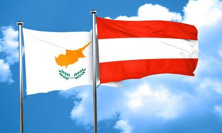 austria flag: Cyprus flag with Austria flag, 3D rendering