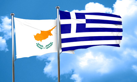 greece flag: Cyprus flag with Greece flag, 3D rendering Stock Photo