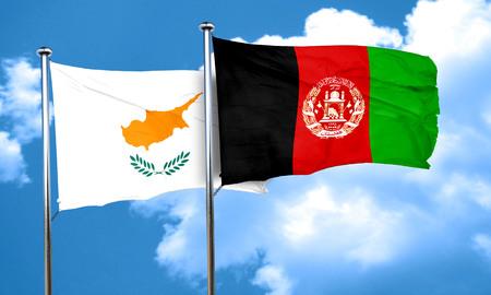 afghanistan flag: Cyprus flag with afghanistan flag, 3D rendering