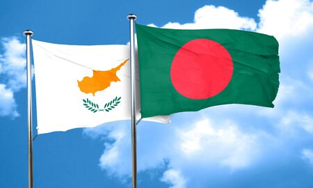 cyprus: Cyprus flag with Bangladesh flag, 3D rendering