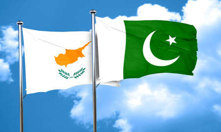 flag of pakistan: Cyprus flag with Pakistan flag, 3D rendering Stock Photo