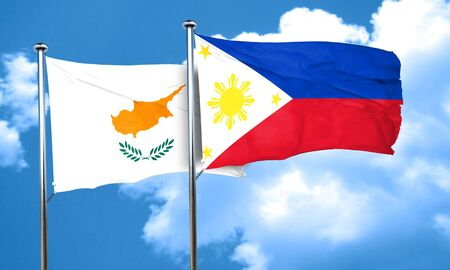 philippino: Cyprus flag with Philippines flag, 3D rendering Stock Photo
