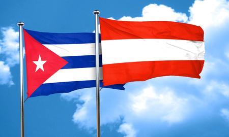 cuba flag: Cuba flag with Austria flag, 3D rendering