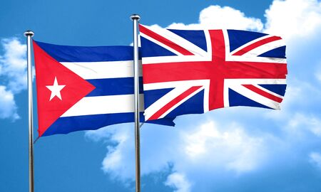 cuba flag: Cuba flag with Great Britain flag, 3D rendering