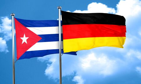 Cuba flag with Germany flag, 3D rendering