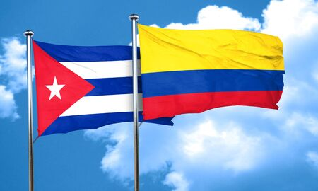 cuba flag: Cuba flag with Colombia flag, 3D rendering Stock Photo