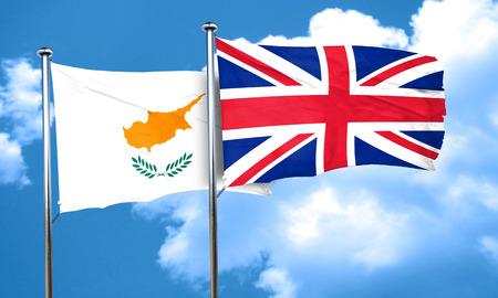 bandera de gran bretaña: Cyprus flag with Great Britain flag, 3D rendering