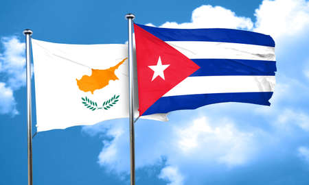 cyprus: Cyprus flag with cuba flag, 3D rendering Stock Photo