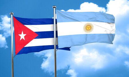 bandera cuba: bandera de Cuba con la bandera argentina, 3D