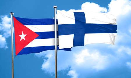 cuba flag: Cuba flag with Finland flag, 3D rendering