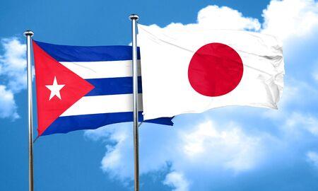 bandera cuba: bandera de Cuba con la bandera de Jap�n, 3D