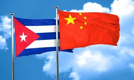 cuba flag: Cuba flag with China flag, 3D rendering Stock Photo