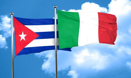 Cuba flag with Italy flag, 3D rendering Stock Photo