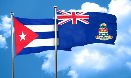 bandera cuba: Cuba flag with Cayman islands flag, 3D rendering