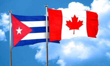 bandera de Cuba con la bandera de Canadá, 3D