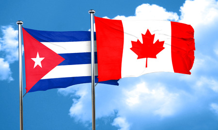 Cuba flag with Canada flag, 3D rendering