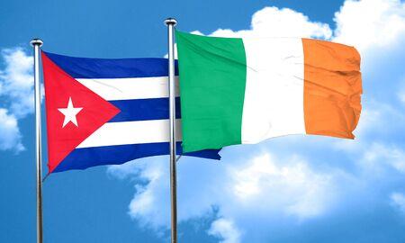 cuba flag: Cuba flag with Ireland flag, 3D rendering
