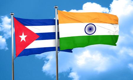 cuba flag: Cuba flag with India flag, 3D rendering