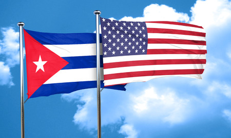 cuban flag: Cuba flag with American flag, 3D rendering Stock Photo