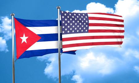 cuba flag: Cuba flag with American flag, 3D rendering Stock Photo