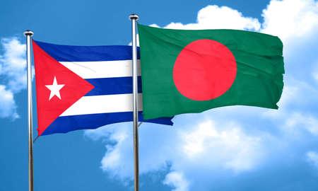 bandera cuba: bandera de Cuba con la bandera de Bangladesh, 3D