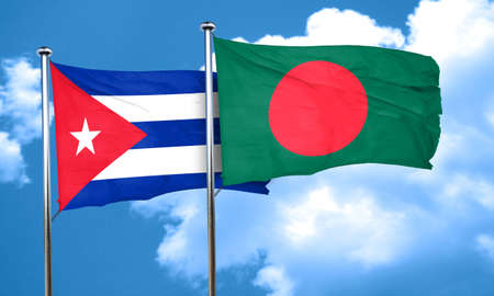 cuban flag: Cuba flag with Bangladesh flag, 3D rendering