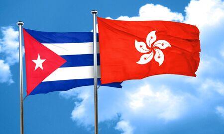 cuba flag: Cuba flag with Hong Kong flag, 3D rendering