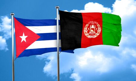 cuban flag: Cuba flag with afghanistan flag, 3D rendering Stock Photo