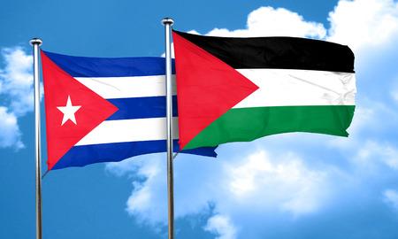 palestine: Cuba flag with Palestine flag, 3D rendering