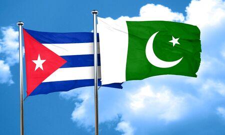 cuba flag: Cuba flag with Pakistan flag, 3D rendering