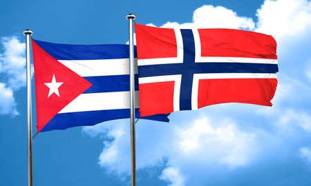 norway flag: Cuba flag with Norway flag, 3D rendering