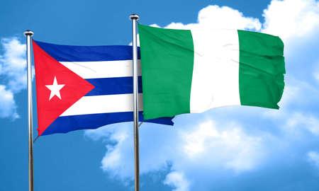 cuba flag: Cuba flag with Nigeria flag, 3D rendering Stock Photo
