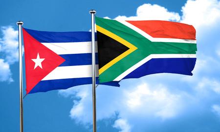 bandera cuba: bandera de Cuba con la bandera de Sud�frica, 3D