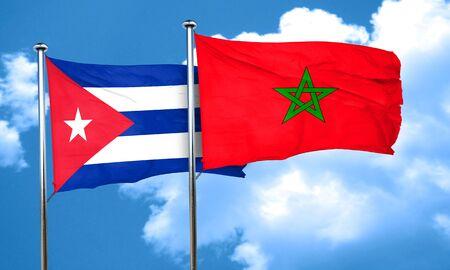cuba flag: Cuba flag with Morocco flag, 3D rendering