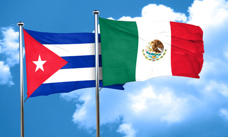 cuba flag: Cuba flag with Mexico flag, 3D rendering Stock Photo