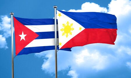 philippino: Cuba flag with Philippines flag, 3D rendering
